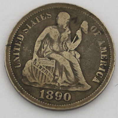1890 United States Seated Liberty Dime Coin