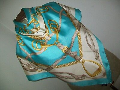 Jaeger. Large & Luxurious Equestrian Design Vintage Silk Scarf