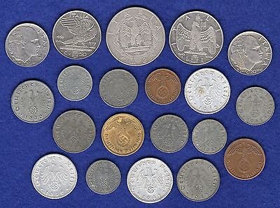 WW2, WWII, Germany, Italy, Axis Powers, 20 Coins, All Different (Ref. t0744)