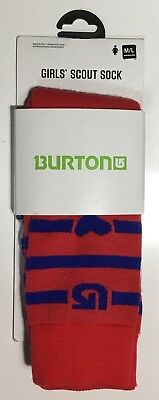 LAST ONE LEFT - BURTON Girls' Scout Socks Red & Blue Youth Medium / Large (2-4)