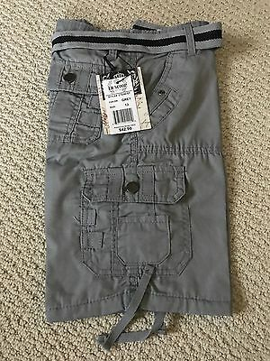 NWT Boy's LR Scoop Solid Gray Belted Cargo Pocket Shorts ALL SIZES 4-7 8-18
