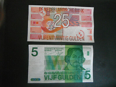 Hollande/netherlands - 2 Billets -5 Et 25 Gulden --P.95  P.100