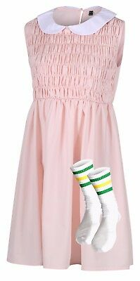 Eleven Dress & Socks Stranger Cosplay Costume Fancy Dress Things Outfit T-shirt