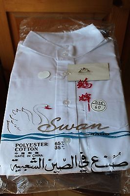 Vintage Swan Brand White Traditional Chinese Long Shirt Changshan Deadstock NOS
