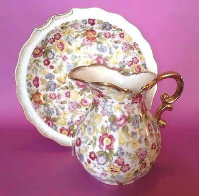 Hand Painted Chintz Pitcher And Bowl Lefton 8038 - Unused With Sticker - Japan