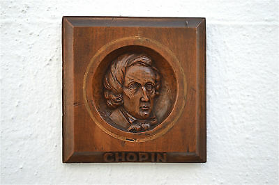 Antique hand carved walnut wall plaque of the composer Frederic Chopin c.1900