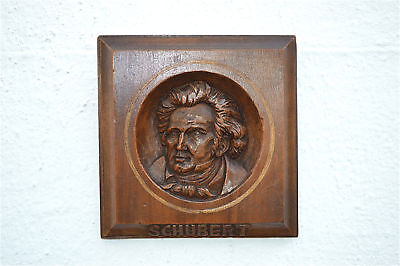 Antique hand carved walnut wall plaque of the composer Franz Schubert c.1900