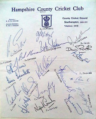 Hampshire 1977 County Championship – Cricket Official Autograph Team Sheet