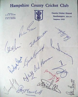 Hampshire 1972 County Championship – Cricket Official Autograph Team Sheet