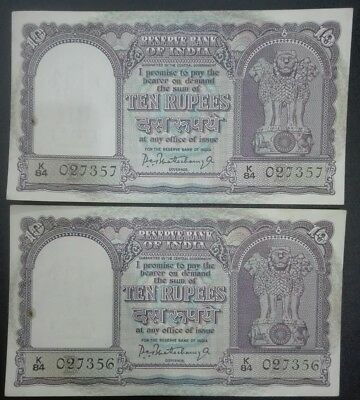 INDIA LOT OF TWO OLD 10re BANKNOTES