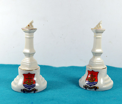Two Willow Art Crested Ware China Sun Dials - Folkestone