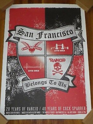 """Rare 2012 Rancid & Cock Sparrer @ Warfield S.f. Poster 23.5"""" X 16.5"""" 20/40 Years"""