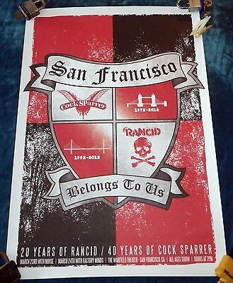 """Rare 2012 Cock Sparrer & Rancid @ Warfield S.f. Poster 23.5"""" X 16.5"""" 20/40 Years"""