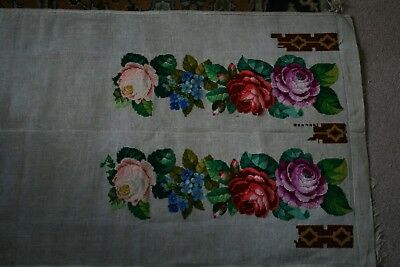 Antique/Vintage Large Tapestry piece, Victorian Roses and Flowers, part complete