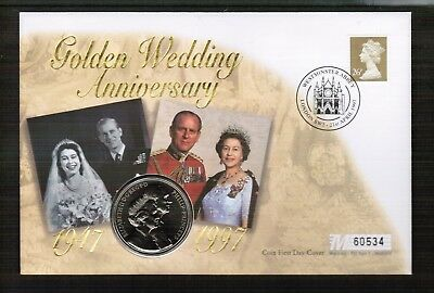 GB 1997 Queens Golden Wedding Anniv £5 Coin Cover