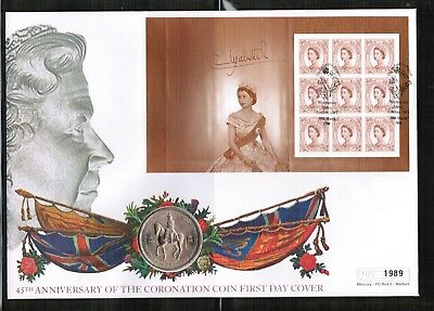 GB 1998 45th Anniv of Queens Coronation 5/- Coin Cover
