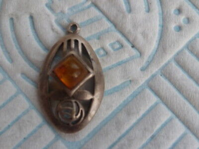 Pretty Silver Rennie Macintosh Style Pendant Set With An Amber Stone