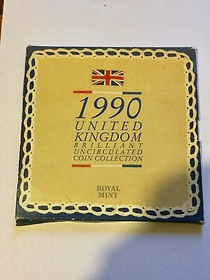1990 United Kingdom Uncirculated 8 coin collection set inc both size of 5p