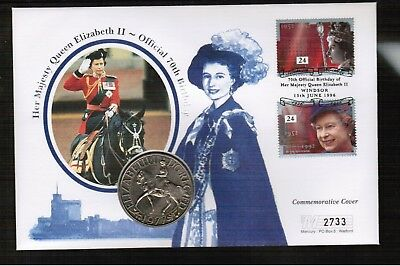 GB 1996 Queens 70th Birthday with 1977 Crown Coin Cover