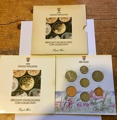 1989 Brilliant Uncirculated Coin Set Collection, Royal Mint 7 Coin Pack.