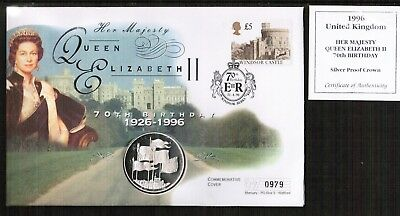 GB 1996 Queens 70th Birthday Silver Proof Crown Coin Cover