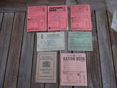 7 Superb Ww2 War-Time Ration Books Id Food Including Child Clothes (2 Replicas)