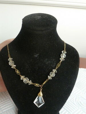 Pretty Vintage Gold Tone Chain With Crystal Beads