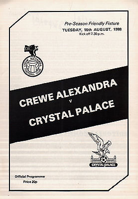 1988/89 Crewe Alexandra v Crystal Palace, friendly - PERFECT CONDITION