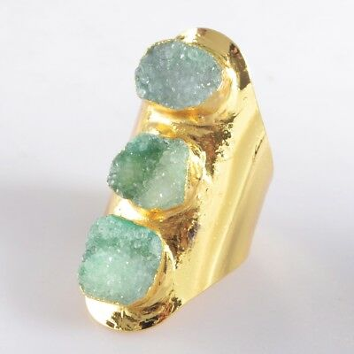 Defective Scratched Size 7 Green Agate Druzy Geode Ring Gold Plated B049404