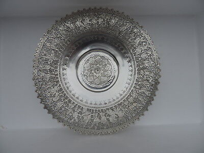VINTAGE ANTIQUE SIGNED PERSIAN ISLAMIC SOLID SILVER DISH TRAY BOWL 548gr 19.3 oz