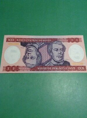 Old Brazil One Hundred Cruzeiros Banknote Paper Money Good Collectable Item