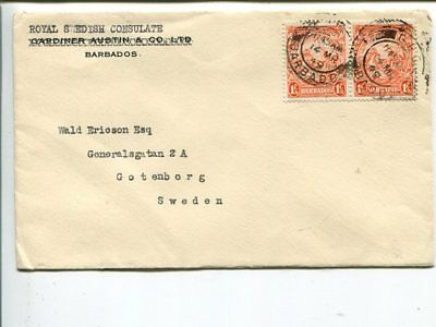 Barbados cover to Sweden 1949