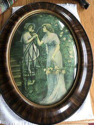 Vintage Oval Convex Bubble Glass Wood Frame With Antique Picture