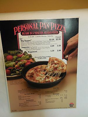 Pizza Hut Personal Pan Lunch Menu Insert. 1984