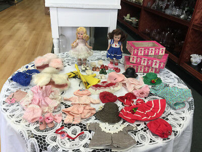 2 Ginny Vogue Dolls Strung & Walker w/ Huge Lot of Clothing, Outfits, Hats Shoes