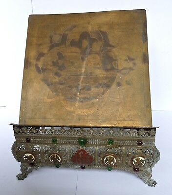 Antique Brass Enamel & Glass Bible Book Rest Stand Holder & Figural Feet c19th