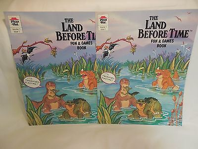 "2 Pizza Hut ""The Land Before Time"" Fun & Game Book. Volume 1 Issue 1- Lot of Two"