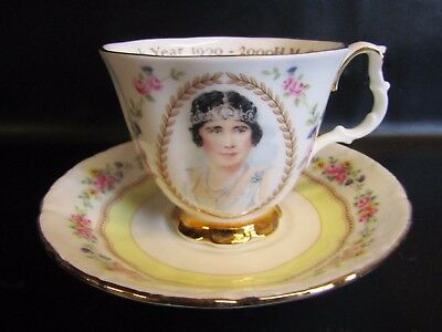 RARE Royal Albert - THE QUEEN MOTHER 100TH BIRTHDAY Cabinet Cup & Saucer