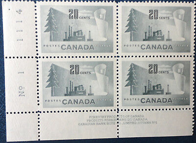 Canada Stamp 1952 Sc #316 Forestry Block Ll Pl1 Mnh