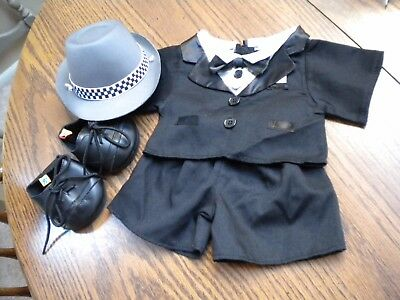 Build-a-Bear Complete TUXEDO Shirt/Jacket w/ HTF 2 Ties Pants Shoes & Derby Hat
