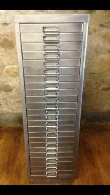 Industrial Stripped Metal 24 Drawer Filing Cabinet Storage Free Delivery