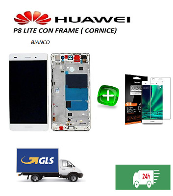 HUAWEI P8 Lite BIANCO - DISPLAY LCD+TOUCH COMPLETO con FRAME - GLS 24 h