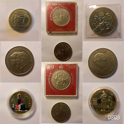 Selection of Coins Commemorative Elizabeth Diana Wales Lest Crown penny five