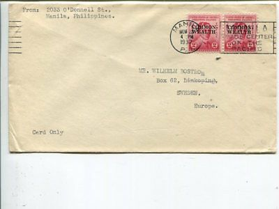 Philippines printed matter cover to Sweden 1932