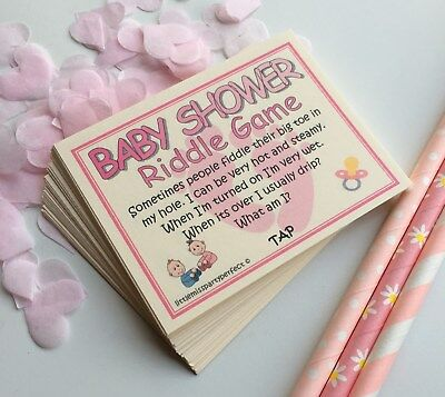 Baby Shower Games Girls Riddle Cards Funny Adult Humour