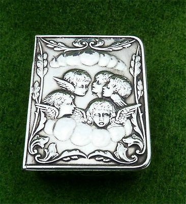 "ATTRACTIVE 1970's ENGLISH SILVER SNUFF BOX WITH ""REYNOLDS ANGELS"" LID DECORATION"