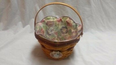 Longaberger May Series Morning Glory Basket Combo w/ Liner, Protector, & Tie On