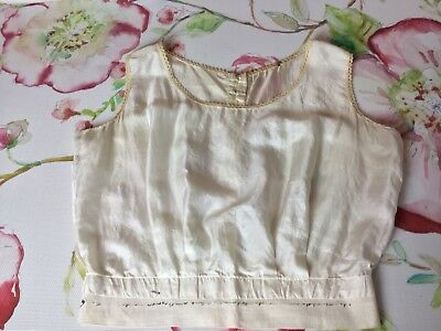 """Antique Ivory Silk Corset Cover Camisole Chemise 40"""" Bust 30"""" Waist rare size"""