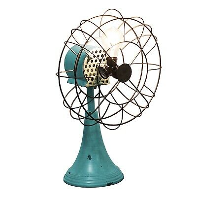 Vintage Replica Fan turned Into Table Lamp Light Aged Blue Fifties Fun
