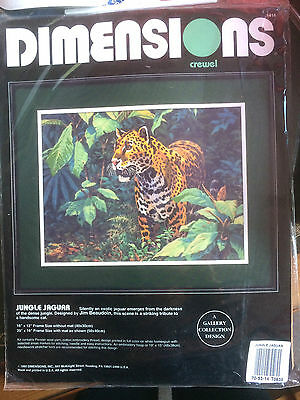 JUNGLE JAGUAR Large Crewel Embroidery Kit - Dimensions 1418